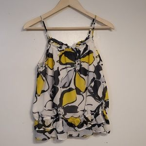 Gorgeous Yellow and Grey Floral Sleeveless Blouse